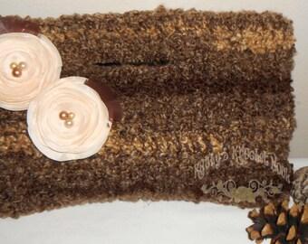 Hazelnut Creme Sweet Little Handbag - purse, tote, bag, tote, bag, brown, cream, ivory, flowers, tote bag, crochet