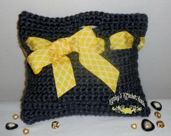 Crochet Chunky Handbag - crochet, gray, gold, white, modern, tote, bag, purse, handbag, crochet, contemporary, tote bag