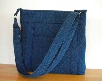 Denim Crossbody Bag - Navy Blue Cross Body Purse - Denim Messenger Bag - Outside Pocket - Adjustable Strap - Navy Shoulder Bag - Hobo Bag