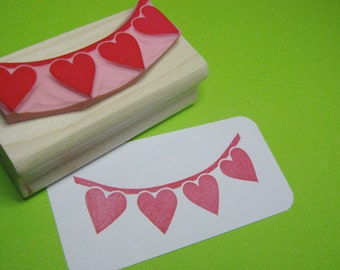 Bunting Stamp - Heart Bunting - Hand carved rubber stamper - Wedding Stamp - Wedding Invite - DIY Wedding - Handmade Wedding - Scrapbooking
