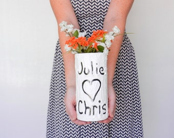 White Vase with name and heart carving / keepsake / Personalized gift / wedding gift / customized vase / anniversary gift