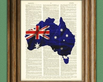 Australia Art Australian flag silhouette map beautifully upcycled vintage dictionary page book art print
