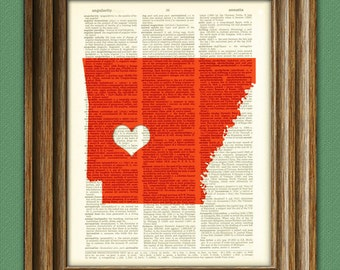 My Heart is in Arkansas state map awesome upcycled vintage dictionary page book art print