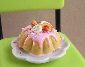 Dollhouse Food Mold- Jell-O or Bundt Cake Mold (Style B) - 1/12 scale Food Flexible Silicone Mold