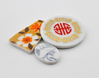 Broken China Mosaic Tiles - Cabochon -Recycled Plates - Blue Swirls - Flower - Oriental - Set of 3