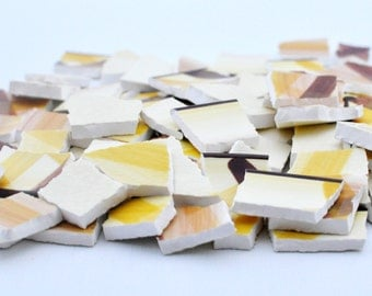 Mosaic Tile - Broken China - Brown - Mustard - Cream - Set of 90