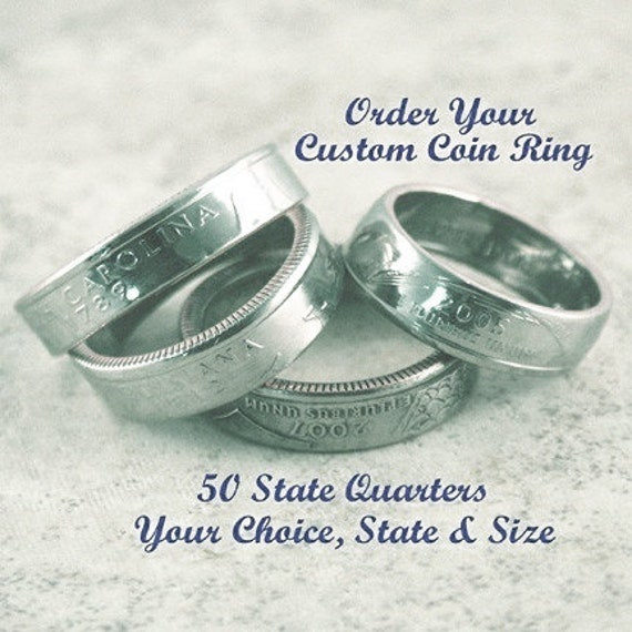 COIN RING JEWELRY - (State Quarter) - Select State & Ring Size