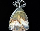 Large Graveyard Point Plume Agate Pendant in Sterling Silver