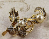 Damascene Black, Silver and Gold Pearl Vintage Floral Brooch
