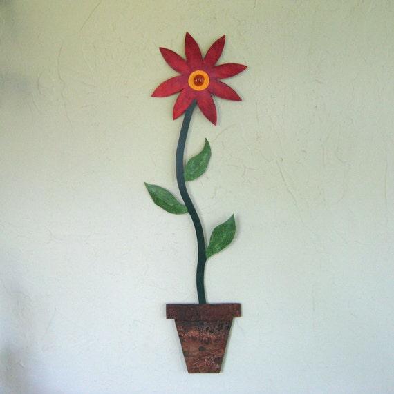 Metal Kitchen Art  - abstract garden art daisy sunflower indoor outdoor red orange porch deck 7 x 25