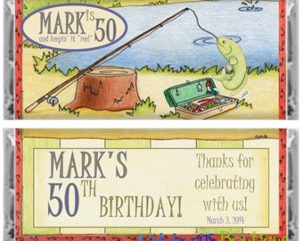 Catching Fish Happy Birthday Retirement 50th 40th Personalized Candy Bar Wrapper Party Favor