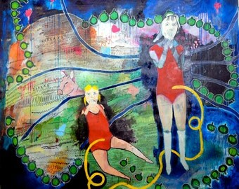 Girls Bound Together by Spider Web Large acrylic & mixed media painting original artwork canvas figurative art naive childlike jamie hudrlik