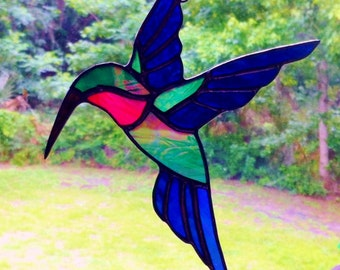 Beautiful Custom Iridescent Handmade Stained Glass Hummingbird Sun catcher