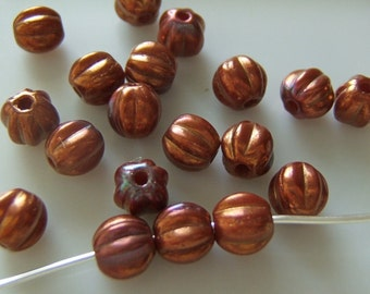 Round 5mm Copper Luster Czech Glass Melon Beads