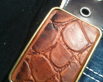 Brass and Brown Alligator leather  buckle