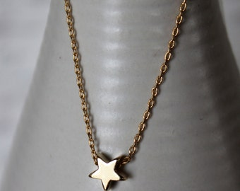 Sale. Gold Star Necklace...Small Star Necklace...Tiny Gold Star Necklace bridesmaid wedding birthday gift