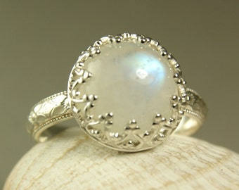 Rainbow Moonstone Ring, Sterling Silver, Natural Stone, Handmade Jewelry, Fancy Bezel Setting, made to order