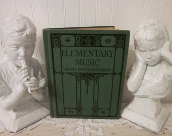 vintage 1923 Elementary Music, Music Education Series textbook by Ginn and Company. Thaddeus P Giddings. Art Deco Gatsby artwork. Homeschool