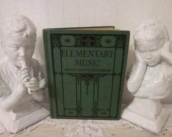vintage 1923 Elementary Music, Music Education Series textbook by Ginn and Company. Thaddeus P Giddings. Art Deco Gatsby artwork. Homeschool