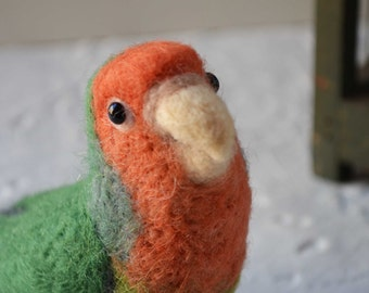 Mr. Peach faced lovebird, needle felted bird art fiber sculpture