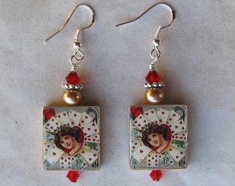 Queen of Hearts Swarovski Charm Earrings