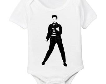 Elvis Dancing Jailhouse Rock Organic Baby Bodysuit