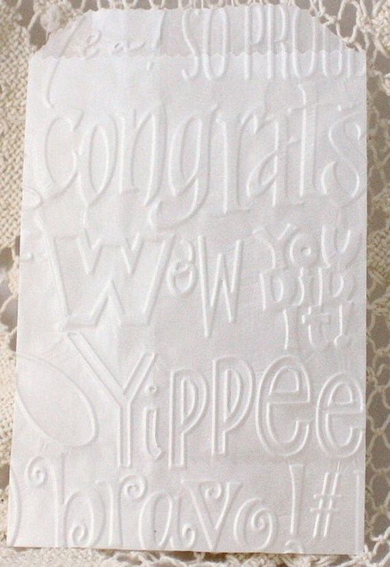 25 Congratulations Embossed Paper Bags, Brown Paper Bags, White Bags, Treat Bags, Party Favor Bags, Candy Bags, Cookie Bags, Party Supplies