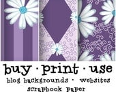 Digital Collage Scrapbook Paper - Grape Purple Lavender Lilac Daisy Stripes Argyle Pattern - Royalty Free