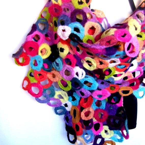 custom order felted scarf multicolor rainbow colors circles. Black Bedroom Furniture Sets. Home Design Ideas