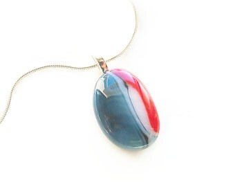 Pendant Necklace, Red White and Blue Oval Stained Glass