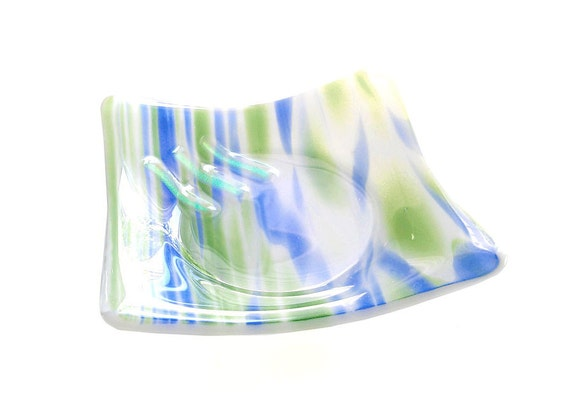 Dish, Decor, Blue Green & White with Dichroic Accents - Handmade Fused Glass