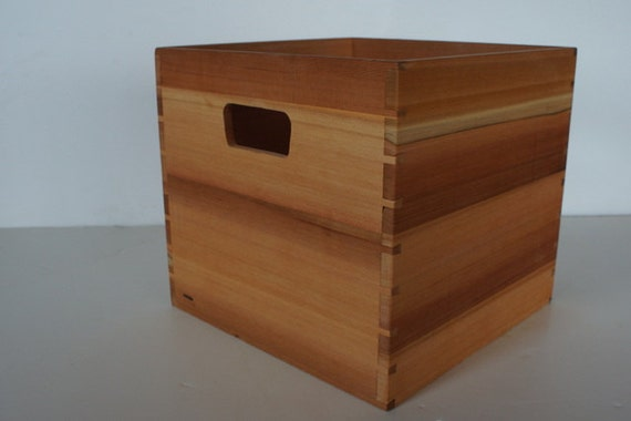 Wood Cedar Crate For 12 Inch Vinyl Lp Record Storage