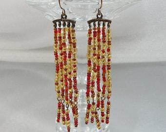Vintage Shoulder Sweeper Earrings. Red Gold Glass Bugle Beads. Dangling Pierced.