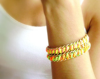 Neon friendship bracelets - Two Hot trend neon fuchsia yellow - neon orange green golden chains friendship bracelets