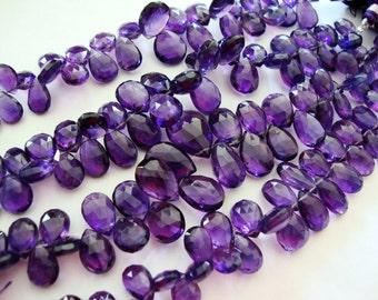 Pendant Size Grape Purple Amethyst Faceted Pears 1/4 Strand  9 Pcs  11 - 15mm