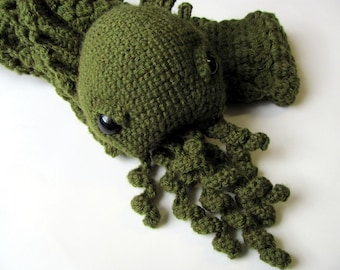 Crochet PATTERN - Amigurumi Monster Cthulhu Scarf - H.P Lovecraft, amigurumi pattern, crochet squid monster scarf, monster toy, softie