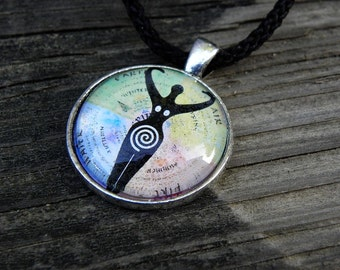 Wiccan Spiral Goddess Four Elements Glass Necklace Pagan