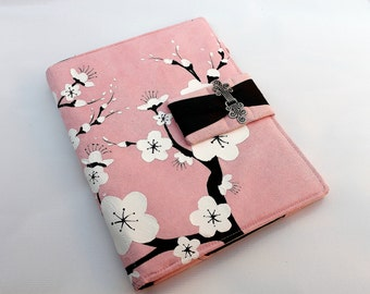 Book Style Cover for Ipad, Xoom or other Tablet Computer with Hand Painted Cherry Blossoms