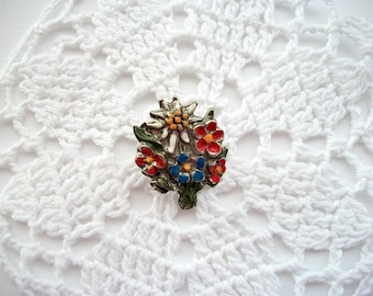 Vintage Flower Brooch Pewter Alp Flower Pin with Edelweiss Hand Painted