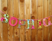 Fabric Name BANNER - Name garland- Name Decor- Name Banner- All Mixed Up style shown