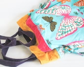 Summer Butterfly Tote-Large Slouchy Soft Cross Body Colorful Bag with Aqua Purple Pink Yellow
