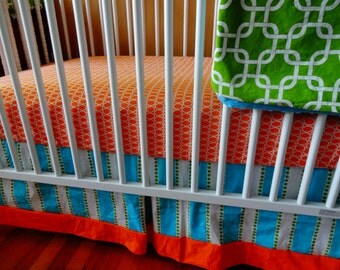 Choose Your Fabrics- 3 piece Orange, Turquoise, and Lime Bumperless Crib Bedding