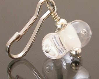 Zipper Pull Charm, beaded zipper pull, decorative zipper pulls, zipper pull, zipper pulls for purses, artisan zipper pull, artisan lampwork