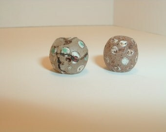 2 white Antique Venetian Skunk or Thousand eye African trade beads