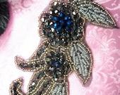 "JB17 Blue Triple Metallic Beaded Floral Applique 5.25"" (JB17-blmt)"