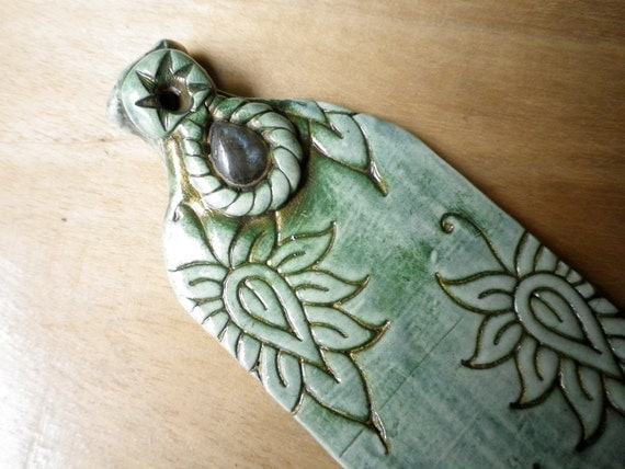 Teal green lotus polymer clay incense holder