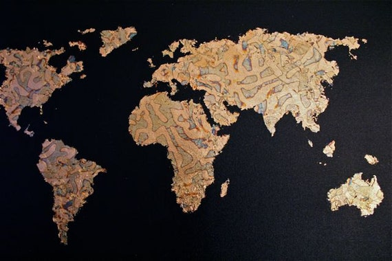 Items similar to gold leaf map of the world on etsy gumiabroncs Gallery