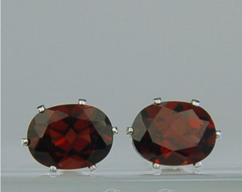 Garnet Stud Earrings Sterling Silver 8x6mm Oval 3.50ctw Natural Untreated