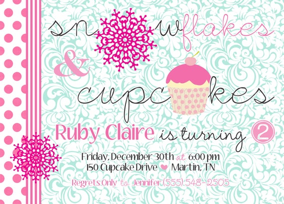 Snowflakes and Cupcakes Birthday Party Invitation