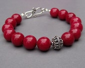 Bracelet Cranberry Red Quartz with Ornate Bali Sterling Silver Focal Bead with  Sterling Silver Clasp